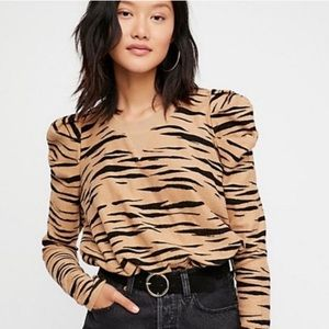 Free People Tiger Stripe Puff Sleeve Sweatshirt